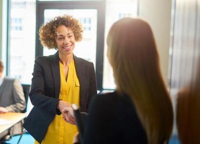 Woman resume successful job interview